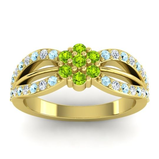 Simple Floral Pave Kalikda Peridot Ring with Diamond and Aquamarine in 18k Yellow Gold