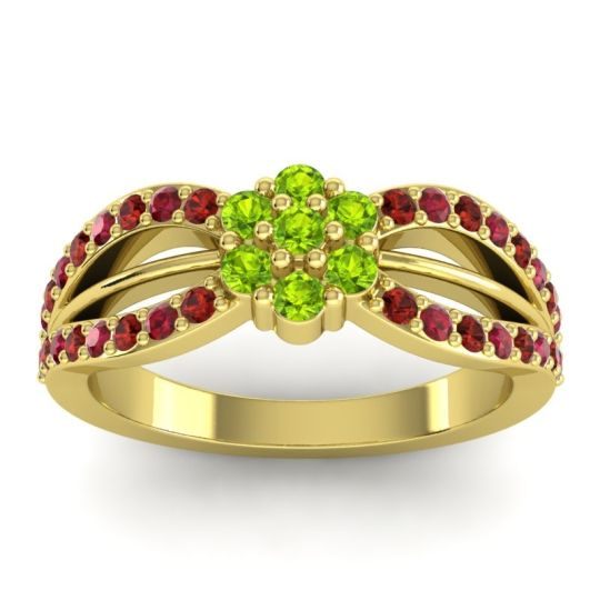 Simple Floral Pave Kalikda Peridot Ring with Ruby and Garnet in 14k Yellow Gold