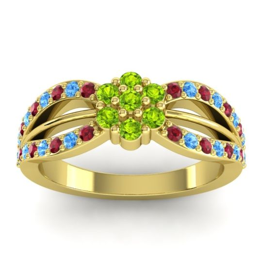 Simple Floral Pave Kalikda Peridot Ring with Swiss Blue Topaz and Ruby in 14k Yellow Gold