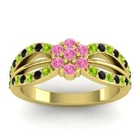 Simple Floral Pave Kalikda Pink Tourmaline Ring with Black Onyx and Peridot in 18k Yellow Gold
