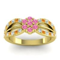 Simple Floral Pave Kalikda Pink Tourmaline Ring with Citrine and Diamond in 14k Yellow Gold
