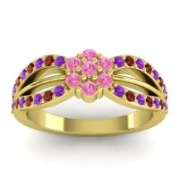 Simple Floral Pave Kalikda Pink Tourmaline Ring with Garnet and Amethyst in 18k Yellow Gold