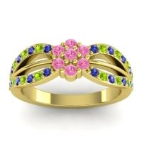 Simple Floral Pave Kalikda Pink Tourmaline Ring with Peridot and Blue Sapphire in 14k Yellow Gold