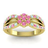 Simple Floral Pave Kalikda Pink Tourmaline Ring with Aquamarine in 14k Yellow Gold
