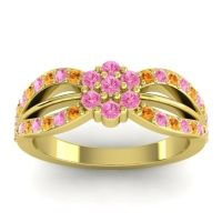 Simple Floral Pave Kalikda Pink Tourmaline Ring with Citrine in 18k Yellow Gold