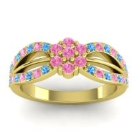 Simple Floral Pave Kalikda Pink Tourmaline Ring with Swiss Blue Topaz in 14k Yellow Gold