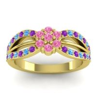 Simple Floral Pave Kalikda Pink Tourmaline Ring with Swiss Blue Topaz and Amethyst in 18k Yellow Gold