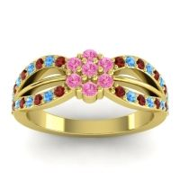 Simple Floral Pave Kalikda Pink Tourmaline Ring with Swiss Blue Topaz and Garnet in 18k Yellow Gold