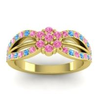 Simple Floral Pave Kalikda Pink Tourmaline Ring with Swiss Blue Topaz in 18k Yellow Gold