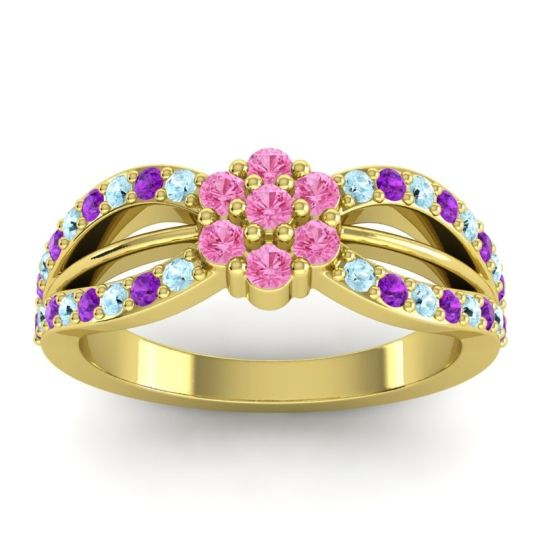 Simple Floral Pave Kalikda Pink Tourmaline Ring with Amethyst and Aquamarine in 18k Yellow Gold