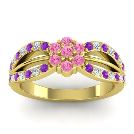 Simple Floral Pave Kalikda Pink Tourmaline Ring with Diamond and Amethyst in 14k Yellow Gold