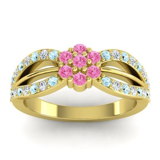 Simple Floral Pave Kalikda Pink Tourmaline Ring with Diamond and Aquamarine in 14k Yellow Gold