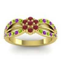 Simple Floral Pave Kalikda Ruby Ring with Amethyst and Peridot in 18k Yellow Gold