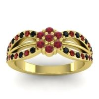 Simple Floral Pave Kalikda Ruby Ring with Garnet and Black Onyx in 18k Yellow Gold