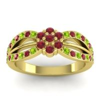 Simple Floral Pave Kalikda Ruby Ring with Peridot in 18k Yellow Gold