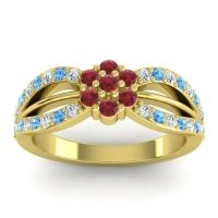 Simple Floral Pave Kalikda Ruby Ring with Swiss Blue Topaz and Diamond in 14k Yellow Gold