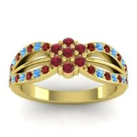 Simple Floral Pave Kalikda Ruby Ring with Swiss Blue Topaz and Garnet in 18k Yellow Gold
