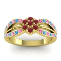 Simple Floral Pave Kalikda Ruby Ring with Swiss Blue Topaz and Pink Tourmaline in 14k Yellow Gold