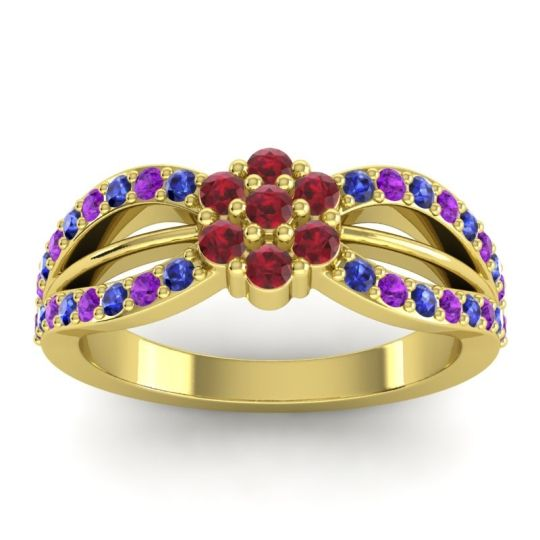 Simple Floral Pave Kalikda Ruby Ring with Amethyst and Blue Sapphire in 14k Yellow Gold