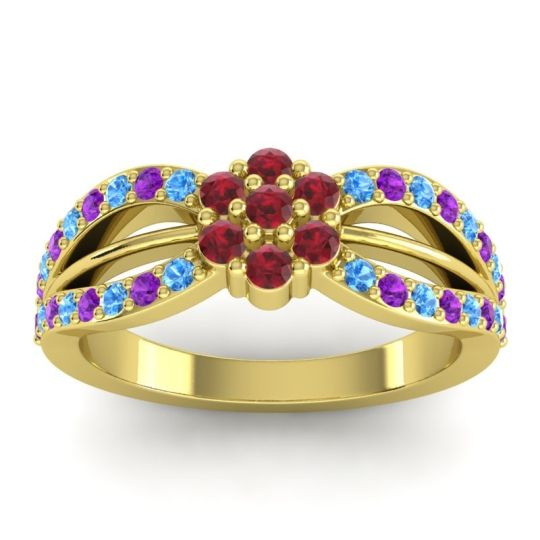 Simple Floral Pave Kalikda Ruby Ring with Amethyst and Swiss Blue Topaz in 18k Yellow Gold