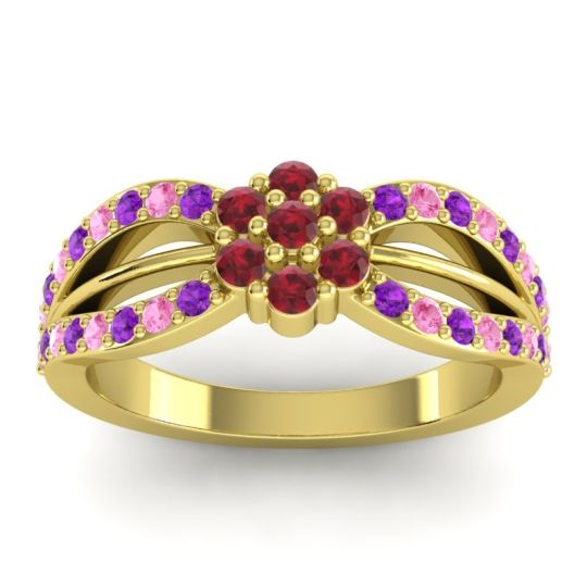 Simple Floral Pave Kalikda Ruby Ring with Pink Tourmaline and Amethyst in 18k Yellow Gold