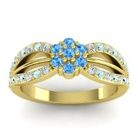 Simple Floral Pave Kalikda Swiss Blue Topaz Ring with Aquamarine and Diamond in 14k Yellow Gold