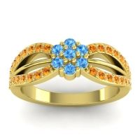 Simple Floral Pave Kalikda Swiss Blue Topaz Ring with Citrine in 18k Yellow Gold