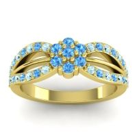 Simple Floral Pave Kalikda Swiss Blue Topaz Ring with Aquamarine in 14k Yellow Gold