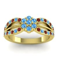 Simple Floral Pave Kalikda Swiss Blue Topaz Ring with Garnet in 18k Yellow Gold