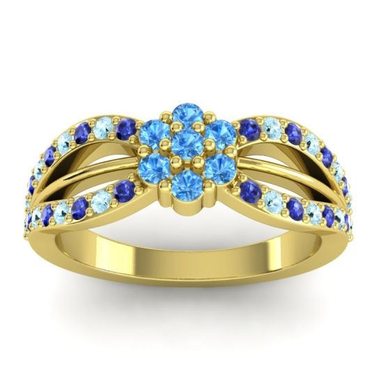 Simple Floral Pave Kalikda Swiss Blue Topaz Ring with Aquamarine and Blue Sapphire in 18k Yellow Gold