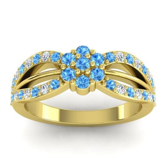Simple Floral Pave Kalikda Swiss Blue Topaz Ring with Diamond in 18k Yellow Gold