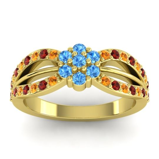 Simple Floral Pave Kalikda Swiss Blue Topaz Ring with Garnet and Citrine in 14k Yellow Gold