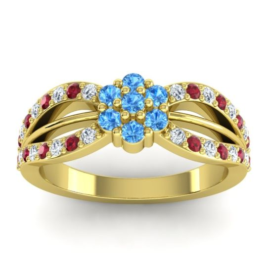 Simple Floral Pave Kalikda Swiss Blue Topaz Ring with Ruby and Diamond in 14k Yellow Gold