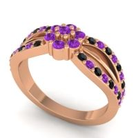 Simple Floral Pave Kalikda Amethyst Ring with Black Onyx in 18K Rose Gold