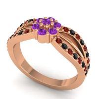 Simple Floral Pave Kalikda Amethyst Ring with Black Onyx and Garnet in 18K Rose Gold