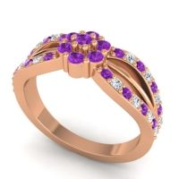 Simple Floral Pave Kalikda Amethyst Ring with Diamond in 14K Rose Gold
