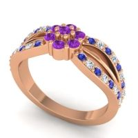 Simple Floral Pave Kalikda Amethyst Ring with Diamond and Blue Sapphire in 14K Rose Gold