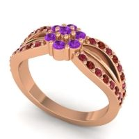 Simple Floral Pave Kalikda Amethyst Ring with Garnet and Ruby in 14K Rose Gold
