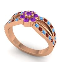 Simple Floral Pave Kalikda Amethyst Ring with Garnet and Swiss Blue Topaz in 14K Rose Gold