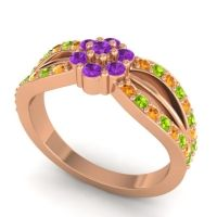 Simple Floral Pave Kalikda Amethyst Ring with Peridot and Citrine in 14K Rose Gold