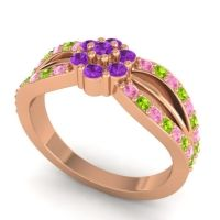 Simple Floral Pave Kalikda Amethyst Ring with Peridot and Pink Tourmaline in 18K Rose Gold