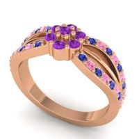 Simple Floral Pave Kalikda Amethyst Ring with Pink Tourmaline and Blue Sapphire in 18K Rose Gold