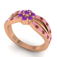 Simple Floral Pave Kalikda Amethyst Ring with Ruby and Pink Tourmaline in 14K Rose Gold