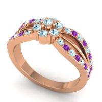 Simple Floral Pave Kalikda Aquamarine Ring with Amethyst in 18K Rose Gold