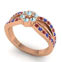 Simple Floral Pave Kalikda Aquamarine Ring with Blue Sapphire and Ruby in 14K Rose Gold