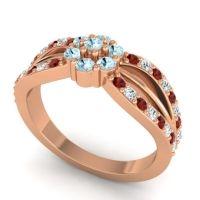 Simple Floral Pave Kalikda Aquamarine Ring with Diamond and Garnet in 18K Rose Gold