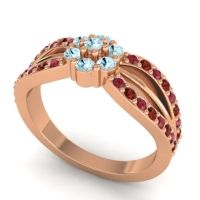 Simple Floral Pave Kalikda Aquamarine Ring with Garnet and Ruby in 18K Rose Gold
