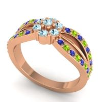 Simple Floral Pave Kalikda Aquamarine Ring with Peridot and Blue Sapphire in 14K Rose Gold