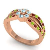 Simple Floral Pave Kalikda Aquamarine Ring with Peridot and Garnet in 18K Rose Gold