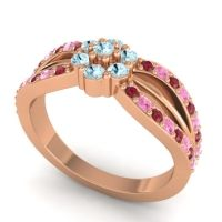 Simple Floral Pave Kalikda Aquamarine Ring with Pink Tourmaline and Ruby in 18K Rose Gold